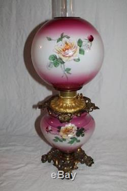 100% Original GWTW Gone with the Wind Banquet Kerosene Oil Lamp with ROSES