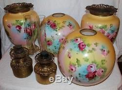100% Original PAIR of HAND PAINTED JUMBO Gone with the Wind Oil Parlor Lamps