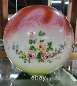 11 Antique Victorian Painted Floral Glass Ball Orb Globe Oil Lamp Shade GWTW