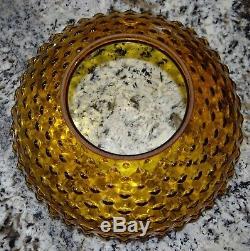 14 Amber Hobnail Glass Hanging Oil Kerosene Lamp Shade Antique
