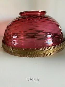 14 Antique Diamond Quilt Hanging Library Oil Kerosene Lamp Chandelier Shade