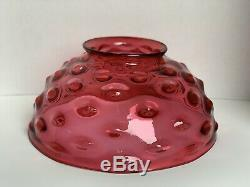 14 Antique Hobbs Victorian Oil Hanging Library Cranberry Bullseye Lamp Shade