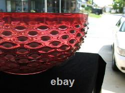 14 Cranberry Opalescent Hobnail VICTORIAN Hanging LAMP SHADE, GWTW, Parlor, Oil