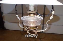 15472- Antique Victorian Hanging Oil Lamp light w Glass Globe & Orig Bracket