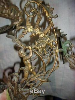 1800's French Large Hanging oil lamp Chandelier bronze brass Cherubs birds