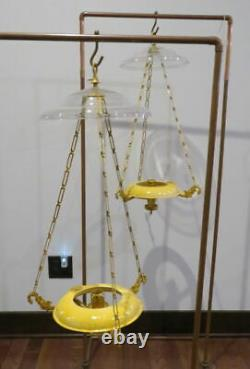 1840-50's Matched Pair of Hooper Boston Hanging Sinumbra Coal Oil Lamps Period