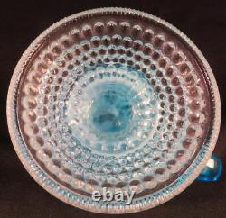 1880's No 1 Blue Opalescent Coin Dot Windows Kerosene Oil Footed Finger Lamp