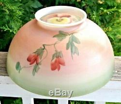 1880s 1890s Hand Painted Decorated Milk Glass Oil / Electric 14 Lamp Shade