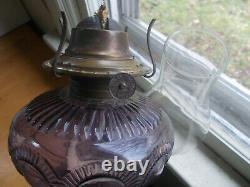 1880s ANTIQUE ZIPPER LOOP KEROSENE OIL LAMP AMETHYST GLASS COMPLETE REAL NICE