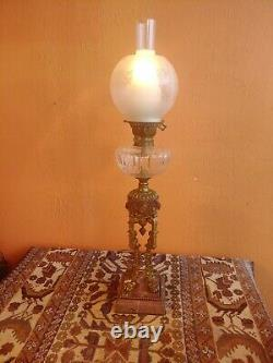 1890's Neoclassical French converted Oil Parlor Lamp, Pink Marble, Lion feet