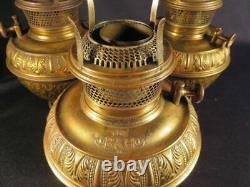 1890's Set 3 B&H Fancy Brass Kerosene Oil Fonts for Hanging or Wall Mount Lamps