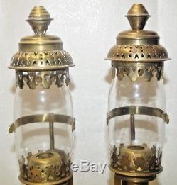 1890s ANTIQUE BRASS RAILROAD Passenger Car Sconce Lantern Kerosene Oil Lamp
