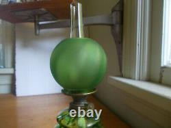 1890s ANTIQUE GREEN PANEL OPTIC MINIATURE OIL LAMP With FROSTED GREEN GLASS SHADE