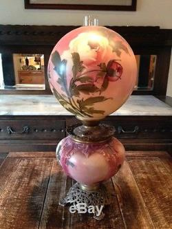1900 1940 Antique Gone With the Wind Kerosene Oil Hand Painted Rose Lamp