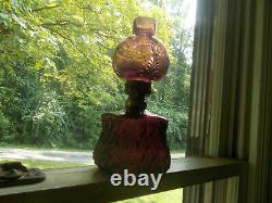1903 Amethyst Glass Dugan Crocodile Tears Miniature Oil Lamp With Original Shade