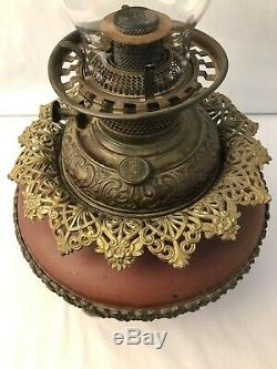 1927 Antique Victorian Bradley & Hubbard B&H Oil Lamp Metal Highly Detailed RARE