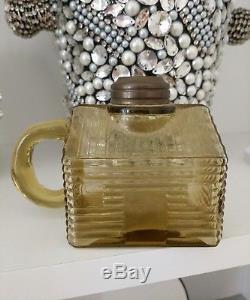 1930's Antique yellow Glass Log Cabin School House Kerosene Oil finger Lamp vtg