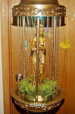 1970s Johnson Industries METAL Goddess Rain Motion Lighted Hanging Oil Lamp