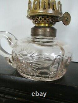 19th C Antique Miniature OIL Finger Lamp Night Lamp Applied Handle Sun Face