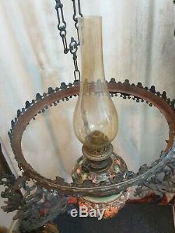 19th Cent Antique Big Dutch Antique Bronze & Majolica Hanging Oil Kerosene Lamp