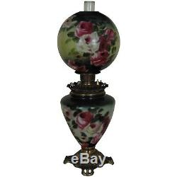 19th c Victorian Banquet Lamp Oil Kerosene GWTW Gone with the Wind Antique ROSES