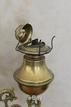 19th c Victorian Brass Oil Kerosene Double Student Desk Adjustable Lamp Dolphins