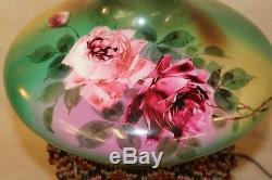 19th c Victorian Pink Roses GWTW Oil Kerosene Parlor Lamp w Beaded Tassel Fringe