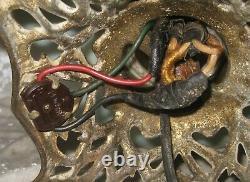 24 Antique ART NOUVEAU FLORAL HAND PAINTED GWTW / PARLOR OIL LAMP Converted