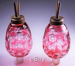2 Antique Rare Boston Sandwich Cranberry Cut-To-Clear Glass Whale Oil Peg Lamps