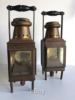 2 Antique brass J. R. Oldfield LTD Nautical oil lamps Kerosene Lanterns WWII