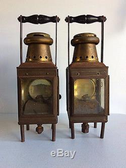 2 Antique brass J. R. Oldfield LTD Nautical oil lamps Kerosene Lanterns WWII