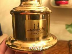 2 Danish Vintage Brass Maritime Fyrskib XXI Table & Wall Kerosene Ship Lamps