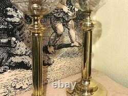 2 RARE Antique Victorian Oil Kerosene Lamps
