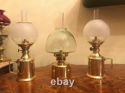 3 Danish Swedish Vintage Brass Harnisch Copenhagen Hans Jakobsson Oil Ship Lamps