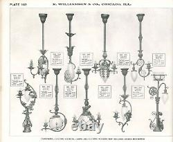 500+ ANTIQUE CATALOGS Electric Gas Oil Lamp Light Reflector Leaded Shade Parts