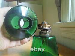 ANTIQUE 1880s GREEN MINIATURE KEROSENE OIL LAMP WITH ORIGINAL MATCHING SHADE