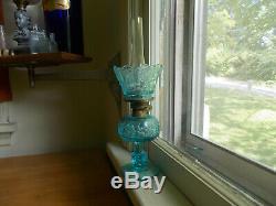 ANTIQUE 1890s BLUE STARS & BARS MINI OIL LAMP COMPLETE WithSHADE & ACORN BURNER