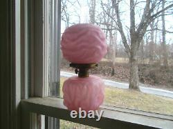 ANTIQUE 1890s PINK CASED GLASS DRAPE MINIATURE OIL LAMP WITH ORIGINAL PINK SHADE