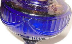 ANTIQUE ALADDIN COBALT BLUE LINCOLN DRAPE OIL LAMP w ORIGINAL MODEL B BURNER