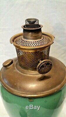 ANTIQUE ALADDIN Venetian Art Craft glass Oil table lamp green 1934-35