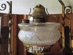 ANTIQUE EASTLAKE STYLE, JEWELED, HEAVY CAST BRASS HANGING LAMP withPRISMS
