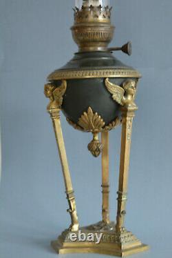 ANTIQUE FRENCH BRONZE OIL KEROZENE TABLE LAMP EMPIRE STYLE 19 thC