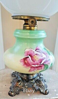 ANTIQUE GONE with THE WIND FLORAL PARLOR OIL LAMP CONVERTED TO ELECTRIC