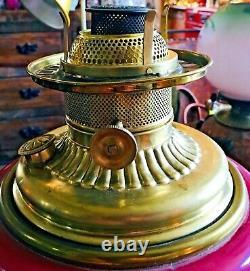 ANTIQUE GWTW Oil Lamp Holmes, Booth & Haydens / American Burner, Oil Pot & Base