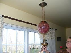 ANTIQUE HANGING OIL LAMP, pink glass, dimpled. BEAUTIFUL