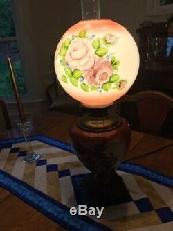 ANTIQUE Hand Painted GWTW oil lamp electrified excellent condition