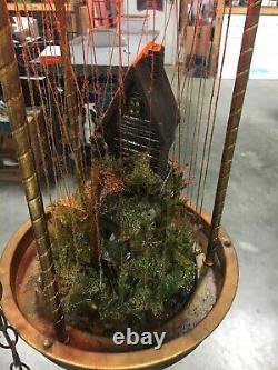ANTIQUE Hanging Oil Spinning Wheel Lamp