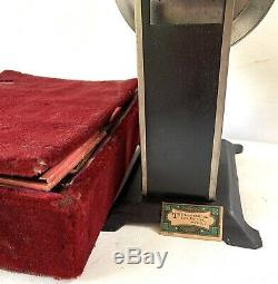 ANTIQUE MAGIC LANTERN OIL LAMP LANTERN PROJECTOR-56 GLASS SLIDES-1890s