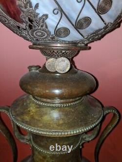 ANTIQUE MILLER OIL LAMP WITH BENT PANEL NOVELTY Co. DRAGONFLY SHADE TIFFANY ERA