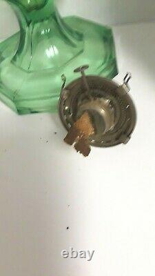 ANTIQUE OIL LAMP LARGE 1920s GREEN Paneled GREEK KEY PATTERN ANTIQUE OIL LAMP